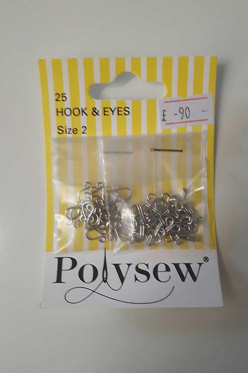 Polysew Hook & Eyes 25pcs Size 2