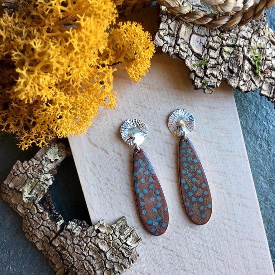 Silver and enamel drop earrings - Lichen inspired