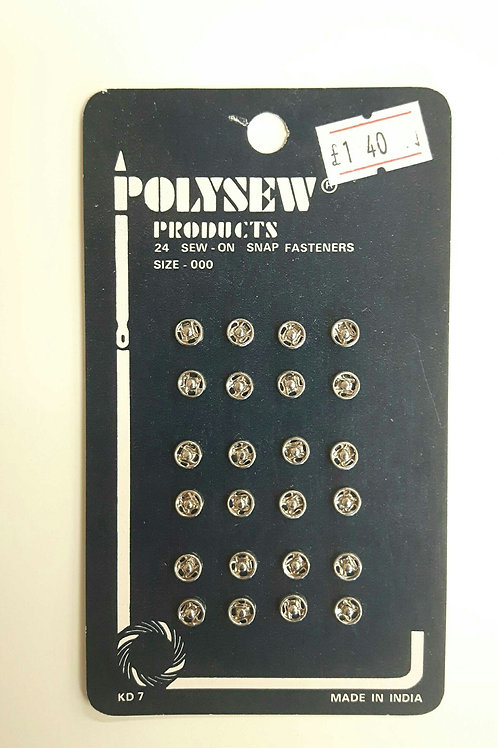 Polysew Sew On Snap Fastners 24pcs size 000