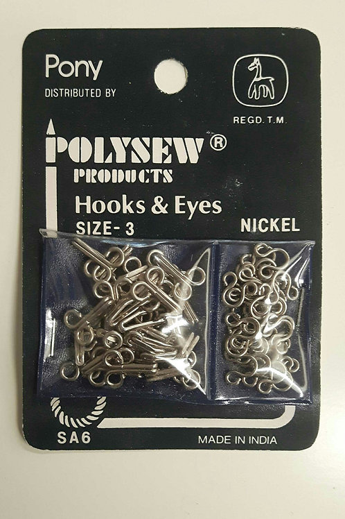 Polysew Hooks And Eyes NIckel size 3