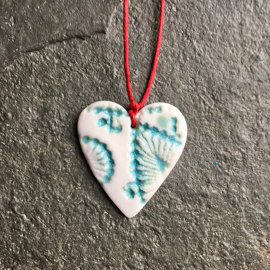 A little hug in a box - one aqua & white porcelain heart to say you care
