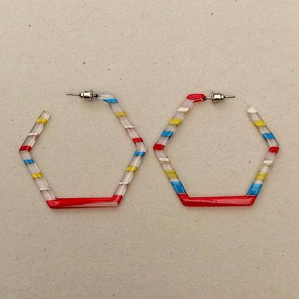 Camelia striped hex hoop earrings