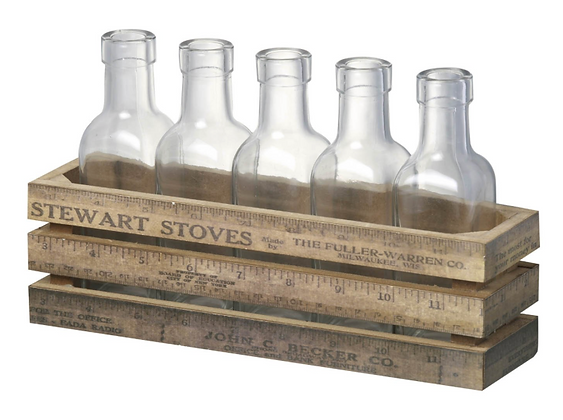 Decorative Crate with Glass Bottles