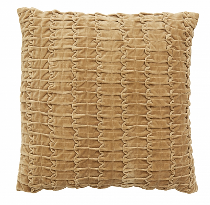 Sand Velvet Ruched and Stitched Cushion