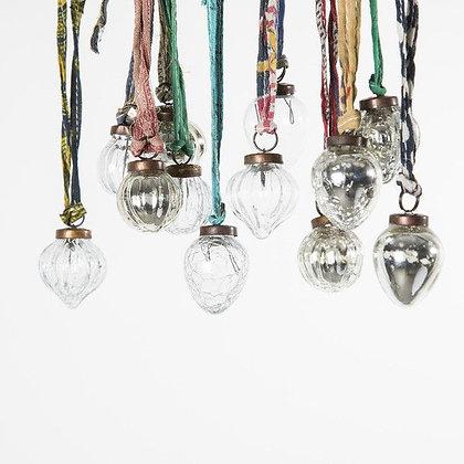 Silver & Clear Mini Dew Drop Glass Decorations