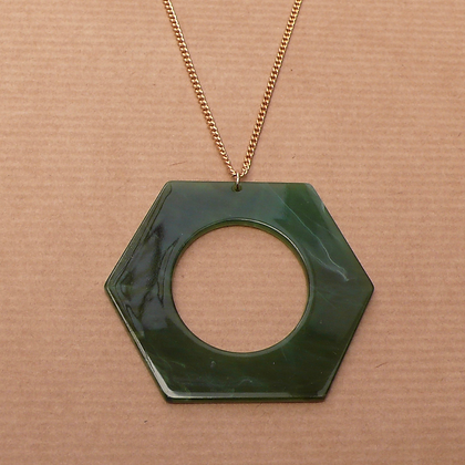 Marbled resin green hexagon necklace