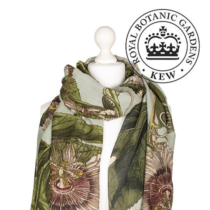 One Hundred Stars Kew Passionflower aqua scarf