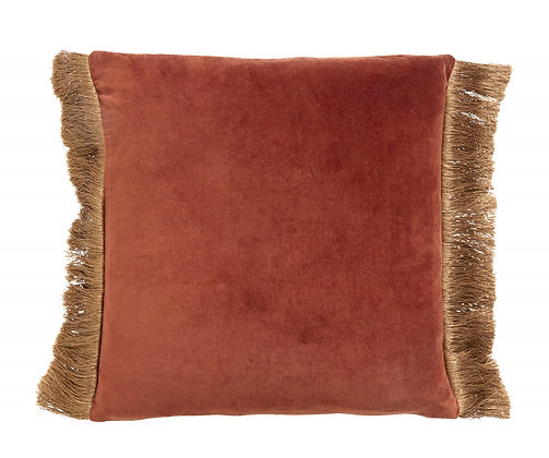 Double Sided Two Tone Terracotta/Gold Velvet Cushion