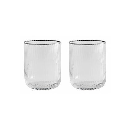 Pair of Silver Rim Ribbed Glass Tumblers