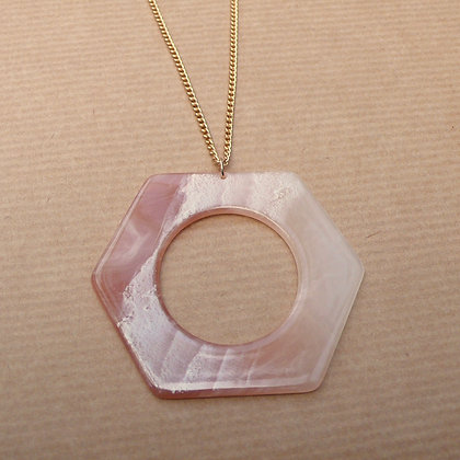 Marbled resin blush hexagon necklace