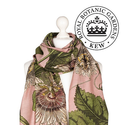 One Hundred Stars Kew Passionflower pink scarf