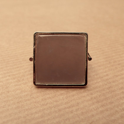 Grey square resin ring