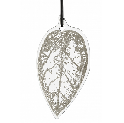 Silver Foil Glass Leaf Decoration