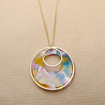 Round in circles yellow multi necklace