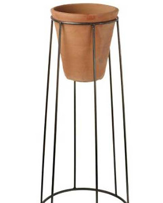Terracotta Pot with Metal Stand (L)