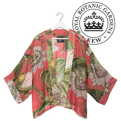 One Hundred Stars Kew RBG Passionflower coral kimono jacket