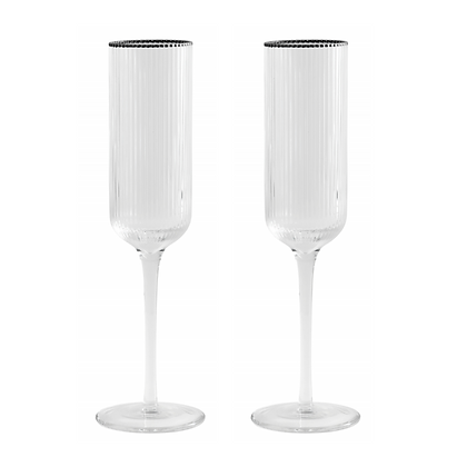 Pair of Silver Rim Ribbed Champagne Flutes