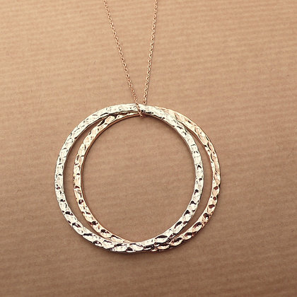 Hoopla two tone rose gold & silver necklace