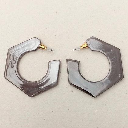 Brigit resin hex hoop earrings