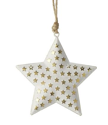 White & Gold Metal Star Decoration
