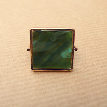 Green square resin ring