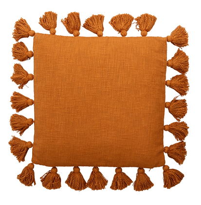 Rusty Orange Tassel Cushion