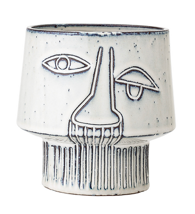 Abstract Face Stoneware Plant Pot