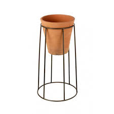 Terracotta Pot with Metal Stand (S)