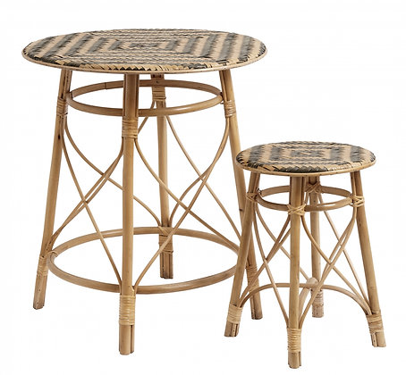Rattan and Black Occasional Tables