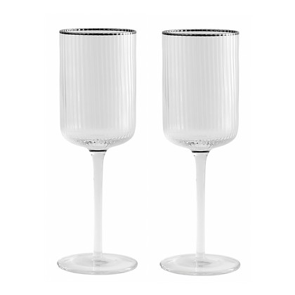 Pair of Silver Rim Ribbed Wine Glasses