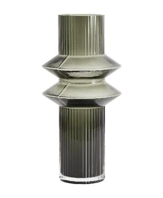Tall Green Grey Deco Vase