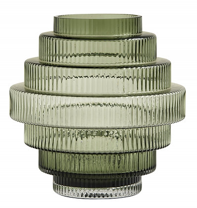 Large Green Grey Tiered Deco Vase