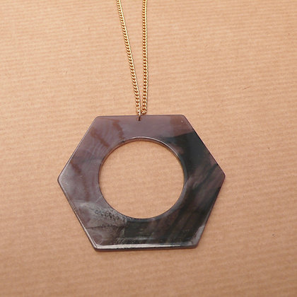Marbled resin grey hexagon necklace