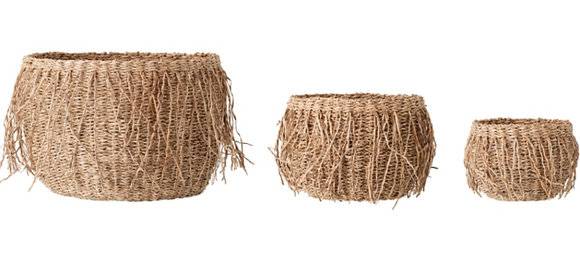 Fringed Seagrass Baskets - Set of 3