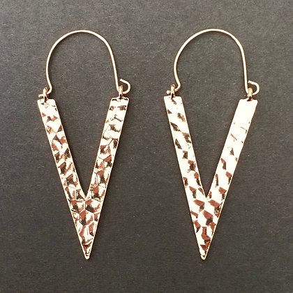 Kalina hammered triangle drop earrings