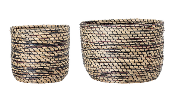 Black Woven Seagrass Baskets - Set of 2