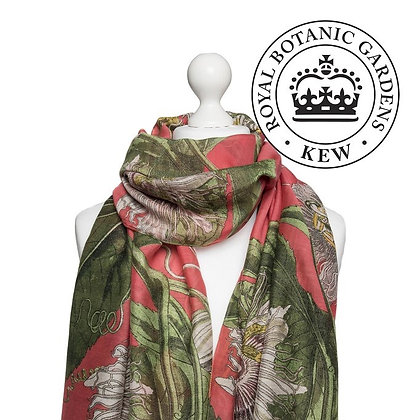 One Hundred Stars Kew Passionflower coral scarf