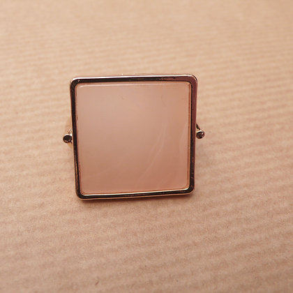 Blush square resin ring