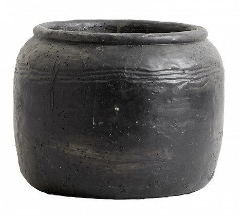 Rustic Black Cement Plant Pot
