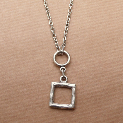 Cut out square short or long necklace