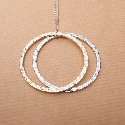 Hoopla two tone silver & gold necklace