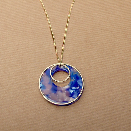 Round in circles blue multi necklace