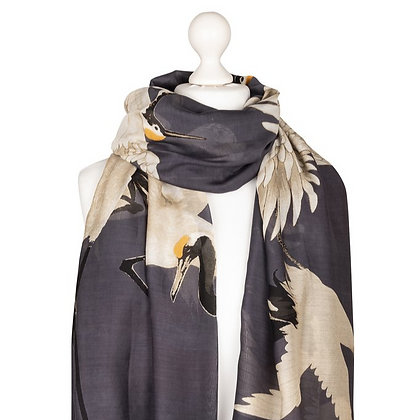 One Hundred Stars Stork charcoal scarf