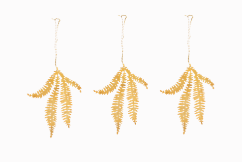 Brass Fern Sprig Tabwa Leaf Decorations