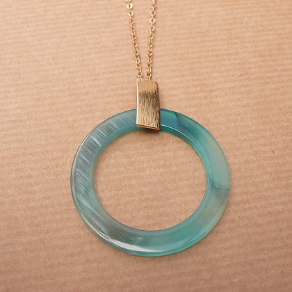 Faux horn teal necklace