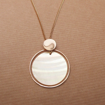 Shell disc and gold plated necklace