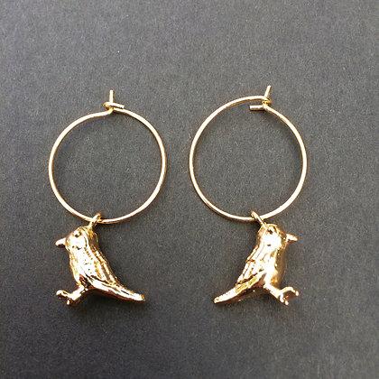 Little bird mini hoop earrings