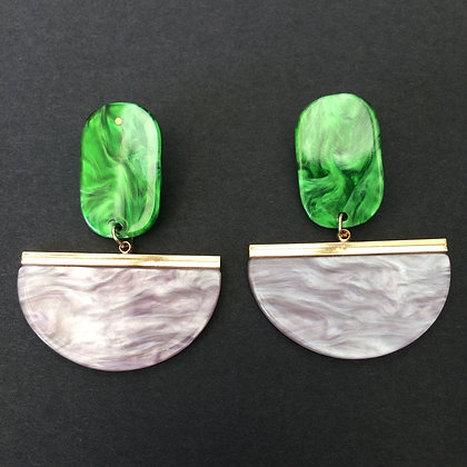 Lila green grey acrylic earrings