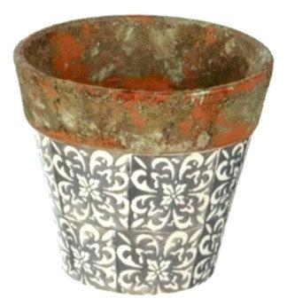 Rustic Tile Print Terracotta Plant Pot S