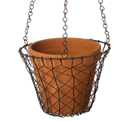 Hanging Wire Basket with Terracotta Pot
